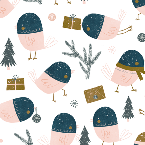 tiny snow birds fabric by wideeyedtree on Spoonflower - custom fabric