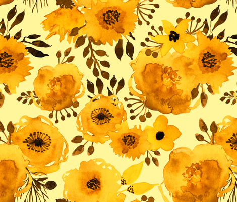 Yellow Watercolor Roses  fabric by utart on Spoonflower - custom fabric