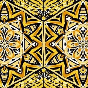 Golden Fantasy Flowers Magic Carpet
