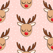 "(1.5"" scale) Reindeer - white polka on pink - Holiday fabric C18BS"