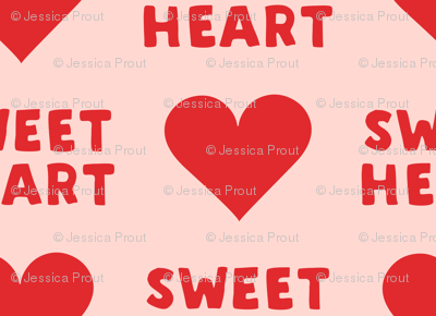 (small scale) sweet heart - valentines- red on pink C18BS