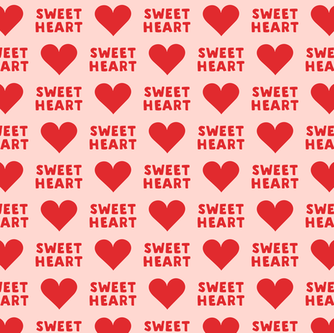 (small scale) sweet heart - valentines- red on pink C18BS fabric by littlearrowdesign on Spoonflower - custom fabric