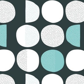 Abstract moon cycle phase Scandinavian minimal retro circle design gender neutral gray blue mint