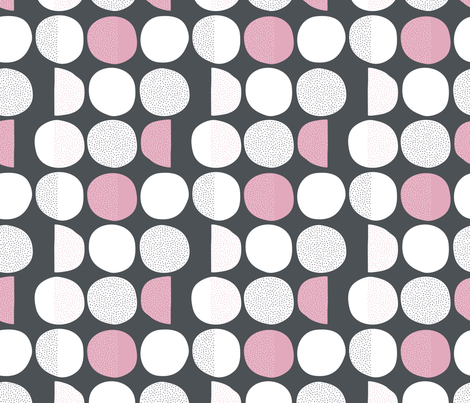 Abstract moon cycle phase Scandinavian minimal retro circle design gender neutral gray pink fabric by littlesmilemakers on Spoonflower - custom fabric