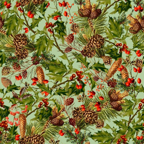 Vintage Holly Christmas Pattern