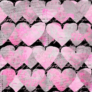 Heart Pattern Pink Black