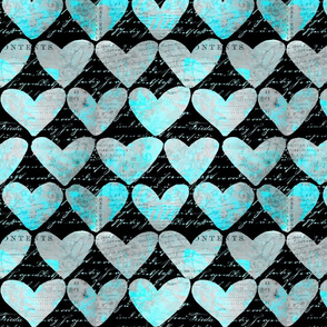 Heart Pattern Black And Turquoise