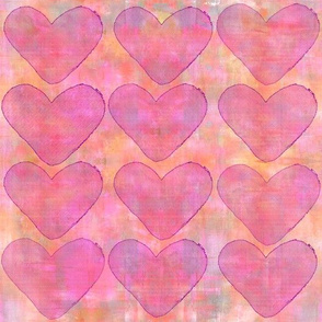 Heart Pattern Pink And Orange