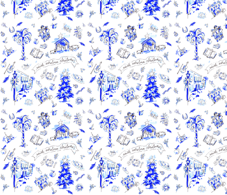 SC Christmas Toile  fabric by grace_under_pressure_sc on Spoonflower - custom fabric