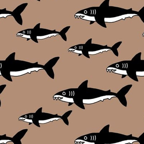 Shark friends cool ocean themed kids pattern black and white brown fall