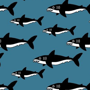 Shark friends cool ocean themed kids pattern black and white blue winter