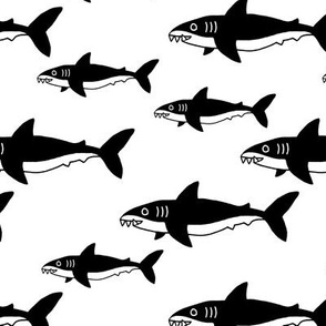 Shark friends cool ocean themed kids pattern black and white monochrome baby