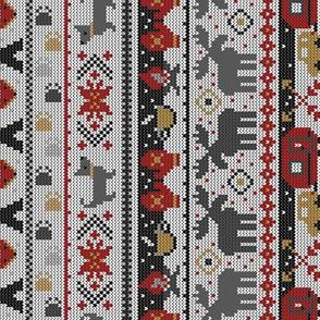 Fair Isle Happy Camper in Red, Gray, Tan + Black // Winter Wonderland with Woodland Animals