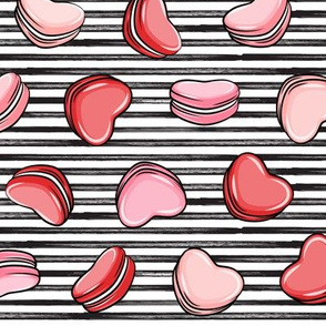 Heart Shaped Macarons - Valentines day - multi on stripes