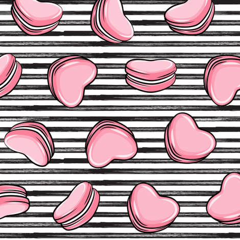 Heart Shaped Macarons - Valentines day  - pink on stripes fabric by littlearrowdesign on Spoonflower - custom fabric