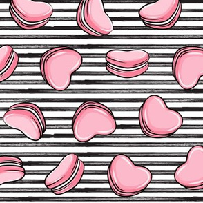 Heart Shaped Macarons - Valentines day  - pink on stripes