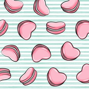 Heart Shaped Macarons - Valentines day  - pink on aqua stripes