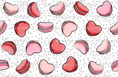 Heart Shaped Macarons - Valentines day - scatter polkas