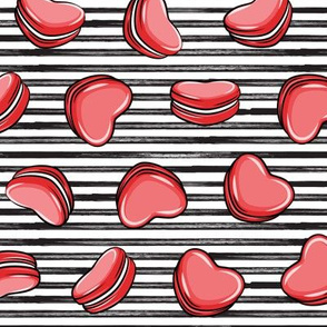 Heart Shaped Macarons - Valentines day - red on stripes