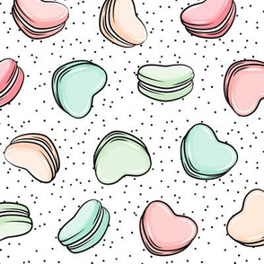 Heart Shaped Macarons - Valentines day  - pastels on scatter polka