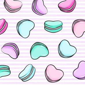 Heart Shaped Macarons - Valentines day  - OG on purple stripes