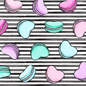 Heart Shaped Macarons - Valentines day  - OG on black stripes