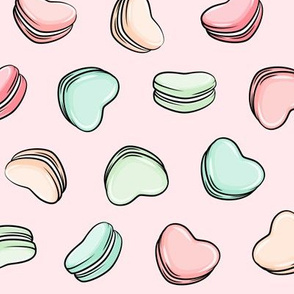 Heart Shaped Macarons - Valentines day  - pastels on pink