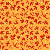 Dragons Red on Yellow