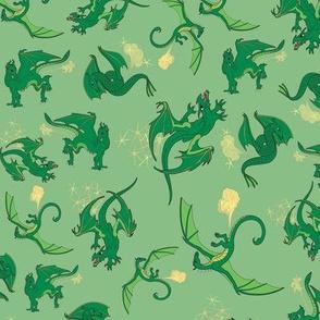 Dragons Green on Green