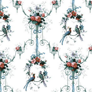 McCallister Damask ~ Christmas Memories on White ~ Medium