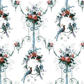 McCallister Damask ~ Christmas Memories on White ~ Medium
