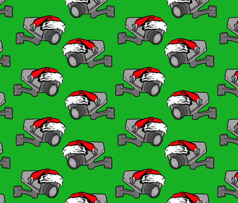 santa cam green (he knows when you are sleeping) fabric by b0rwear on Spoonflower - custom fabric