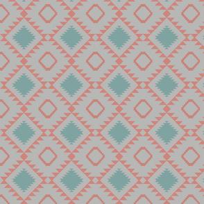 Blanket southwest 2 Grey _ soft coral
