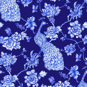 chinoiserie peacock floral navy