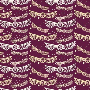 Golden Wings on Crimson/Plum