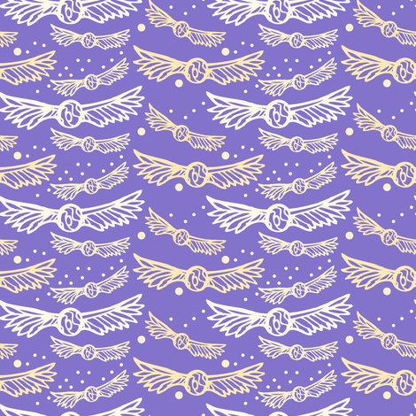 snitches and stars on ultra violet fabric by katie_hayes on Spoonflower - custom fabric