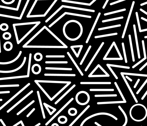 Abstract Black and White - large fabric by xtinew on Spoonflower - custom fabric