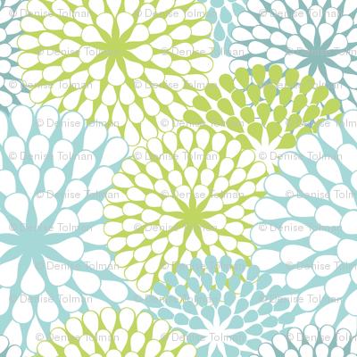 Abstract Dandelions Teals & Green