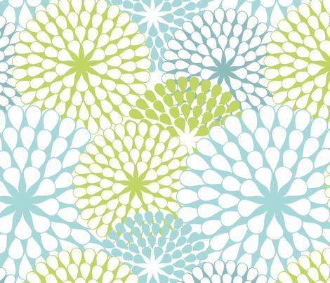 Abstract Dandelions Teals & Green fabric by fabric_is_my_name on Spoonflower - custom fabric