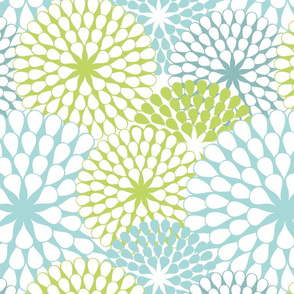 Abstract Dandelions Teals & Green