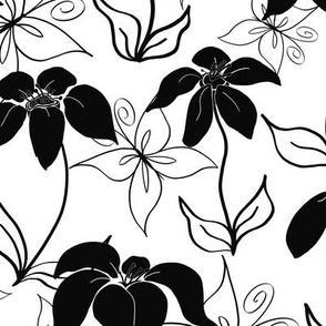 Black & White Butterfly Floral