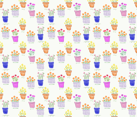 More Happy Pots fabric by teawithxanthe on Spoonflower - custom fabric