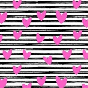 hearts on stripes - pink on black