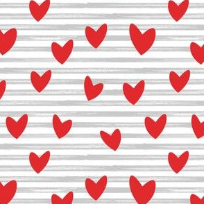 hearts on stripes - red on grey