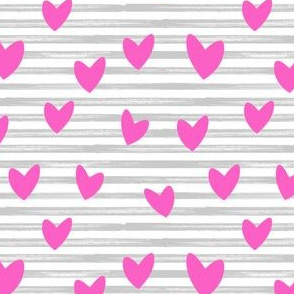 hearts on stripes - pink on grey