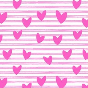 hearts on stripes - pink on pink