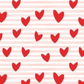 hearts on stripes - red on pink