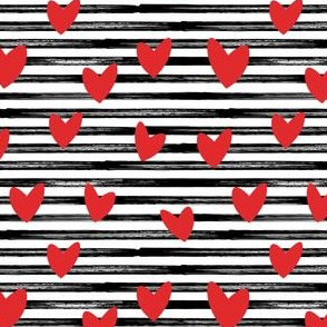hearts on stripes - red on black