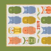 Calendar 2019 Owl Multi Color
