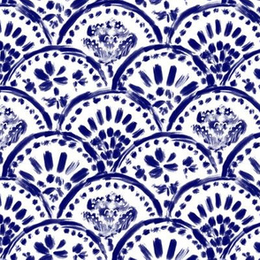 Chinese Navy-blue Scalloped Wave